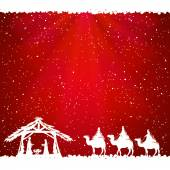 Christian Christmas scene on red background illustration