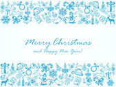 Christmas background with frame from blue sketches illustration