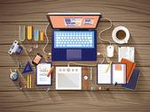 Pohled shora pracovní místa v plochý design