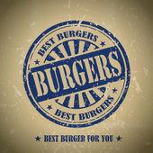 Vintage burgers menu cover design with blue stamp element
