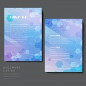 High-tech style brochure template design with translucent hexagons elements