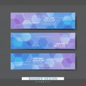 High-tech style banner template design with translucent hexagons elements