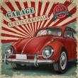 Постер, плакат: Veteran classic small red car