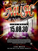 Modern music festival poster design template with abstract background