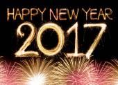 Felice nuovo anno 2017 parola fatta dai fuochi dartificio luce sparkler
