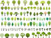 Vektorový soubor mnoha stylu stromů