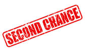 Second chance red stamp text on white
