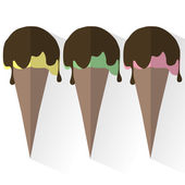 Flat illustration of 3 kinds of ice cream