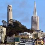 Постер, плакат: Coit Tower and Transamerica Pyramid dominant San Francisco skyli