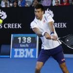Постер, плакат: Eleven times Grand Slam champion Novak Djokovic of Serbia in action during his round 4 match at Australian Open 2016