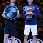Постер, плакат: Australian Open 2016 finalist Andy Murray L and Grand Slam champion Novak Djokovic of Serbia during trophy presentation