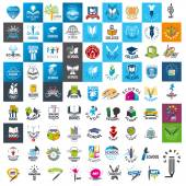 Large set of vector logos school and books