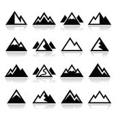 Vector icons set of mountain landscape isolated on white