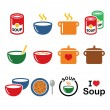 ������, ������: Soup in bowl can and pot food icon set