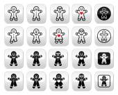 Vector buttons set of gingerbread man for Xmas isolated on white