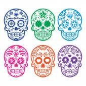 Vector icon set of decorated skull - tradition in Mexico colorful icons isolated on white