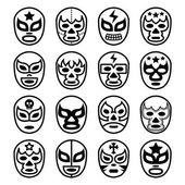 Lucha Libre mexické zápas masky - linie černé ikony