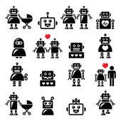 Robot család, nő, csecsemő robot ikonok beállítása