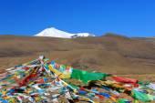 Pulha Ri vrchol nad modlitební praporky. Od Gyatso La pass Tibetu. 1910