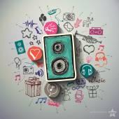 Szórakoztató és zenei kollázs a háttér ikonok
