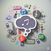 Hudba a zábava koláže s pozadí ikony