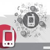 Papír a ruce znak nakreslený smartphone s pozadím ikony