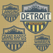 Label set with names of Michigan cities vector illustration
