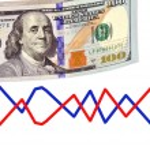 Постер, плакат: Stack of hundred dollar bills U S on white background