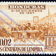 Постер, плакат: HONDURAS CIRCA 1959: A stamp printed in Honduras issued for the 2nd Anniversary of New Constitution shows Inauguration of President Ramon Villeda Morales circa 1959