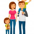 Cute happy family with two kids