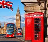 London szimbólumok, Big Ben, dupla emeletes busszal és piros telefonfülkék, Anglia, Egyesült Királyság