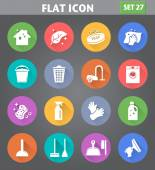 Vector application Cleaning Icons set in flat style with long shadows