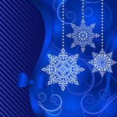Christmas blue background with hanging ornamental snowflake shapes
