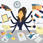 Businesswoman working with eight hands representing to very busy business concept