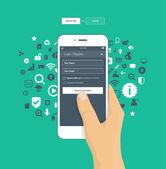 Přihlášení, registrace obrazovky na mobilních telefonů