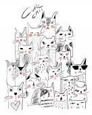 Gatti di animazione diversi set, illustrazione vettoriale