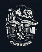Illustrazione vettoriale, emblema dellannata con la montagna