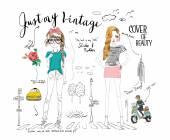 Vector illustration of beautiful fashion girls set
