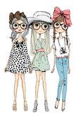 Vector illustration of beautiful fashion girls set white background