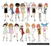 Vector illustration of beautiful fashion girls set with birds on white background