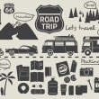 Постер, плакат: Road trip packing list infographic elements