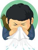 Chlapec chytil chřipku a kýchání