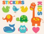 Vector colorful animals set Stickers   for kids