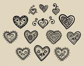 Krásná silueta srdce krajky květin, úponky a listy