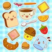 Cute kawaii style cartoon breakfast foods