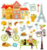 Collection of cartoon symbols of Paris