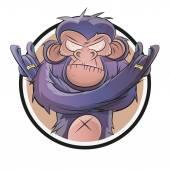 Rozzlobený kreslený šimpanz v odznak