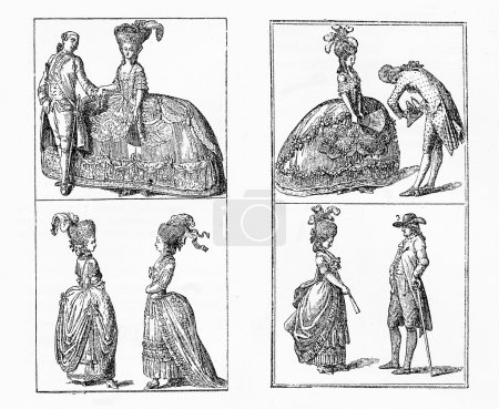 German fashion in Berlin:men and ladies clothing in early 18th
