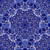 Seamless background of circular patterns Navy blue ornament in ethnic style Vector illustration