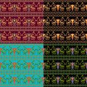 Set of seamless Byzantine patterns of different colors Vector illustration